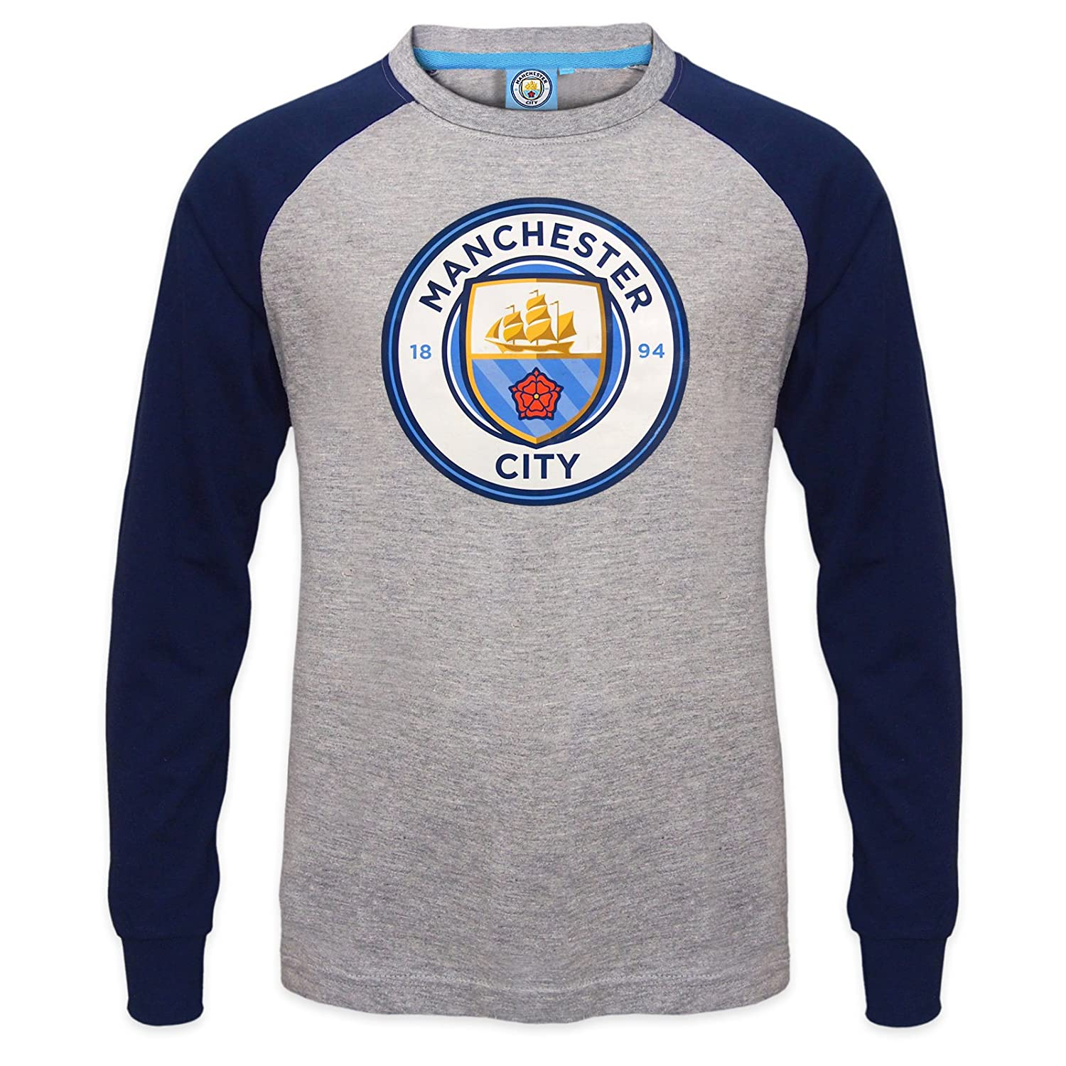 Amazon.com  Manchester City FC Official Soccer Gift Kids Crest Long Sleeve  Raglan T-Shirt Gray  Clothing 082e95bc8fa8