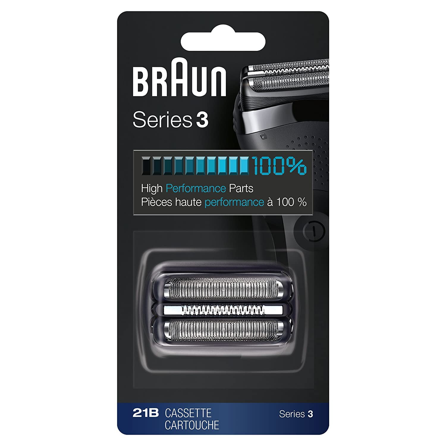 Braun 21B Series 2 Electric Shaver Replacement Foil and Cassette Cartridge - Black 81570020
