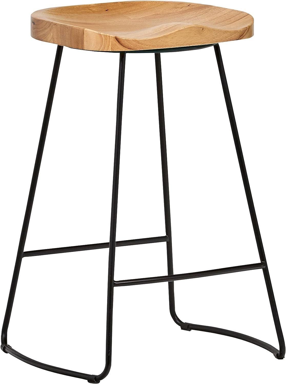 "Rivet Modern Industrial Wood and Metal Kitchen Counter Bar Stool, 25.6""H, Oak, Black"