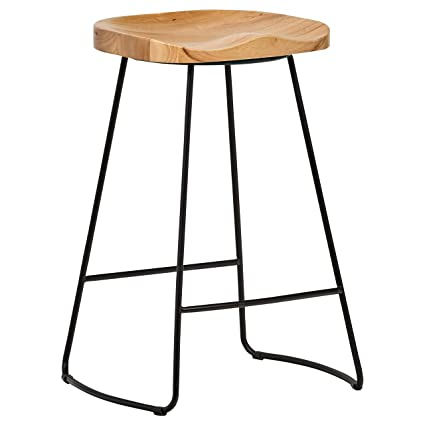 Excellent Rivet Modern Industrial Wood And Metal Kitchen Counter Bar Stool 25 6H Oak Black Inzonedesignstudio Interior Chair Design Inzonedesignstudiocom