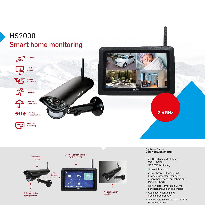 Switel HS2000 Digitales HD-Funküberwachungssystem, Außenkamera ...
