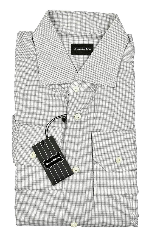 Amazon Ermenegildo Zegna Grey Micro Check Milano Shirt 100