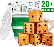 Splinter Woodworking Co Yardzee, Farkle & 20+ Games - Giant Yard Dice Set (All Weather) with Collapsible Bucket, Lid, 5 Big