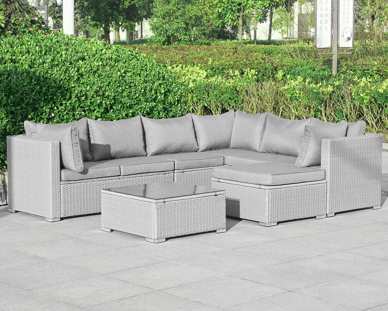 Enjoy Fit Gartenmöbel Rattan Polyrattan Lounge Sitzgruppe Garnitur aus Sessel Sofa Hocker Tisch mit Glas/Modell: Mykonos