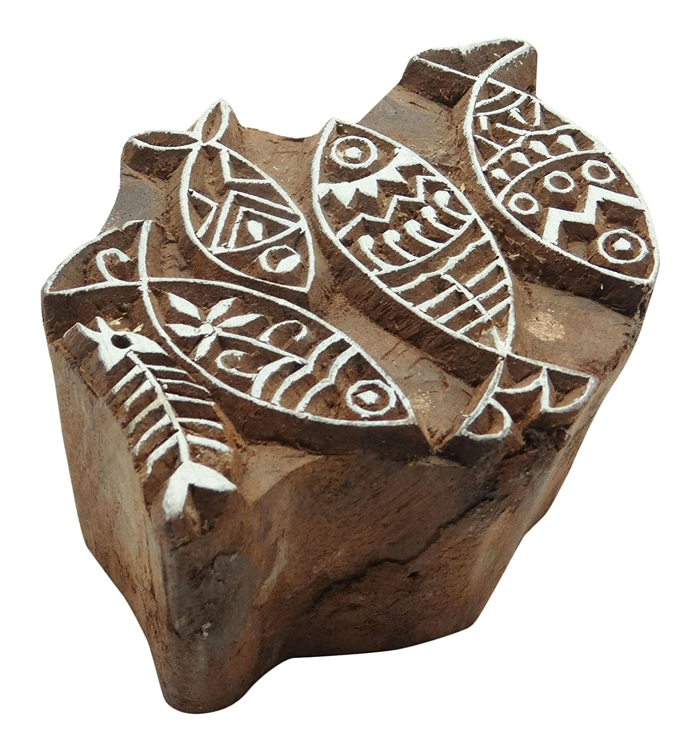 Fish Pattern Hand Carved Wood Printing Blocks Textile Stamp Wooden Brown Block