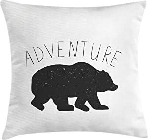 Ambesonne Adventure Throw Pillow Cushion Cover, Black Silhouette of a Wild Bear Zoo Animal Nature Passion Hipster Design, Decorative Square Accent Pillow Case, 18