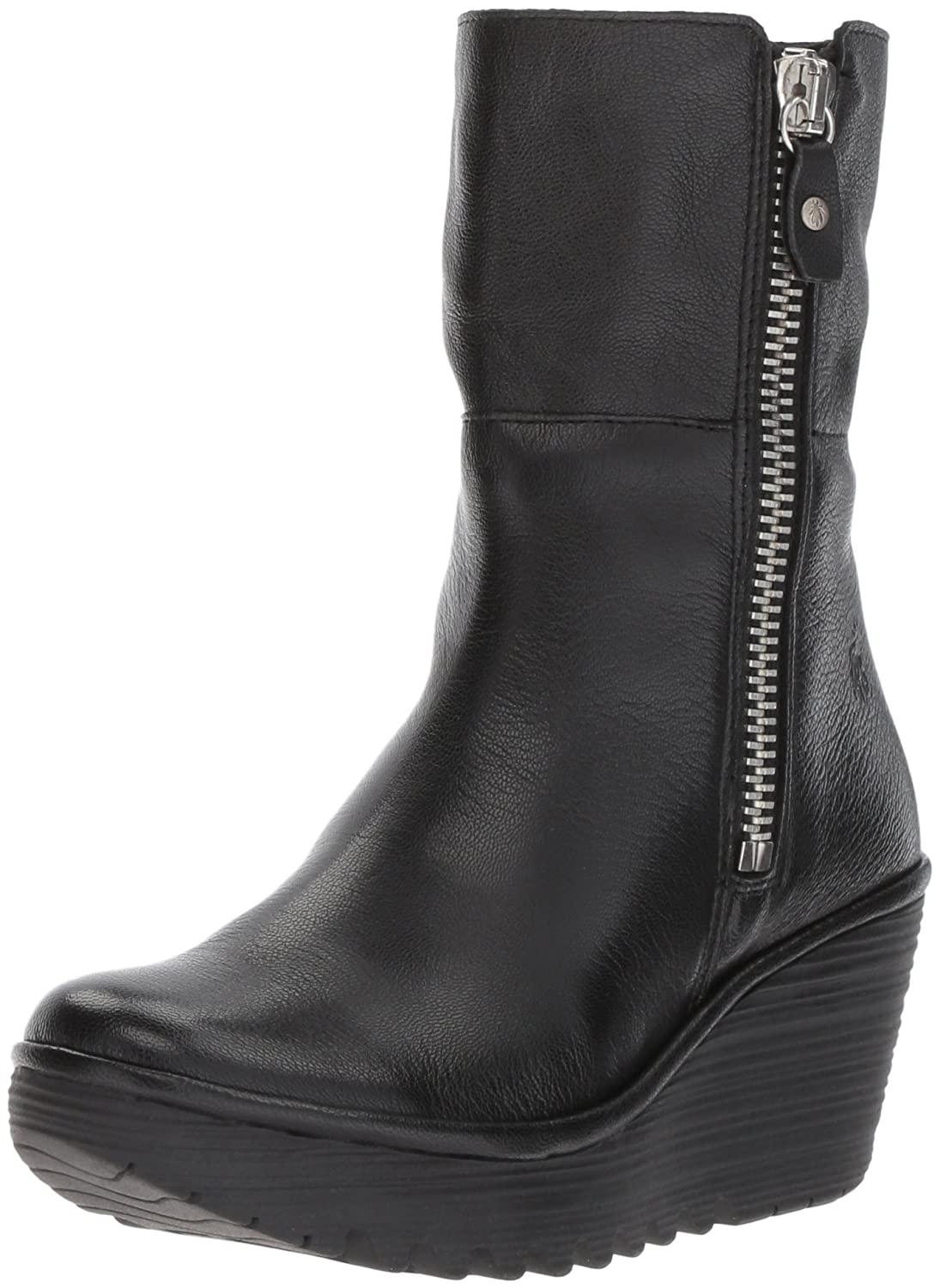 Fly London Yex668fly, Botines para Mujer Black/Silver (Leather)