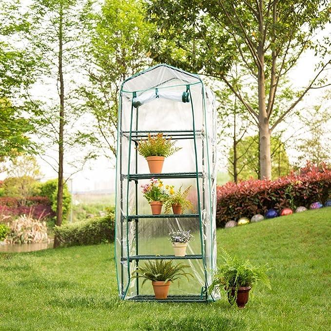 Jardinería Invernaderos 4 Pisos Cubiertas de Invernadero Miniinvernadero Caseta para Plantas Transparente Impermeable de PVC para Plantas y Flores Casa ...