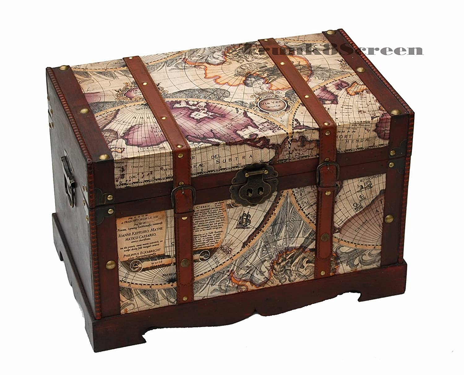 Traditional Wooden Storage Trunk With Antique Sailing Map Pattern:  Amazon.co.uk: Kitchen U0026 Home