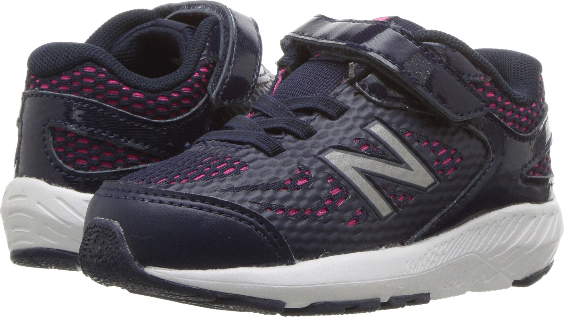 New Balance Girls' 519v1 Hook and Loop Running Shoe, Pigment/Pink Glo, 8 W US Toddler