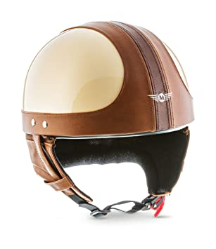 Moto Helmets D22 Vintage Braincap - Casco abierto para motocicleta, incluye bolsa de transporte de