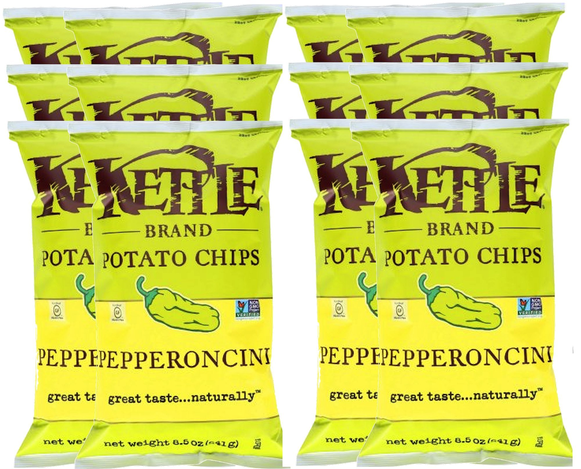 Kettle Brand Kettle Gluten Free Chips Pepperoncini 8.5oz Snack Care Package for College, Military, Sports (12)