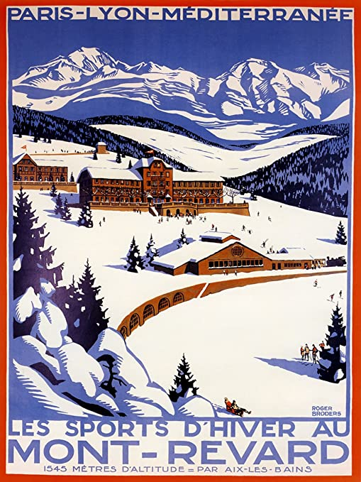 Ete Hiver Chamonix Mont Blanc Vintage Poster  print on Paper or Canvas Giclee