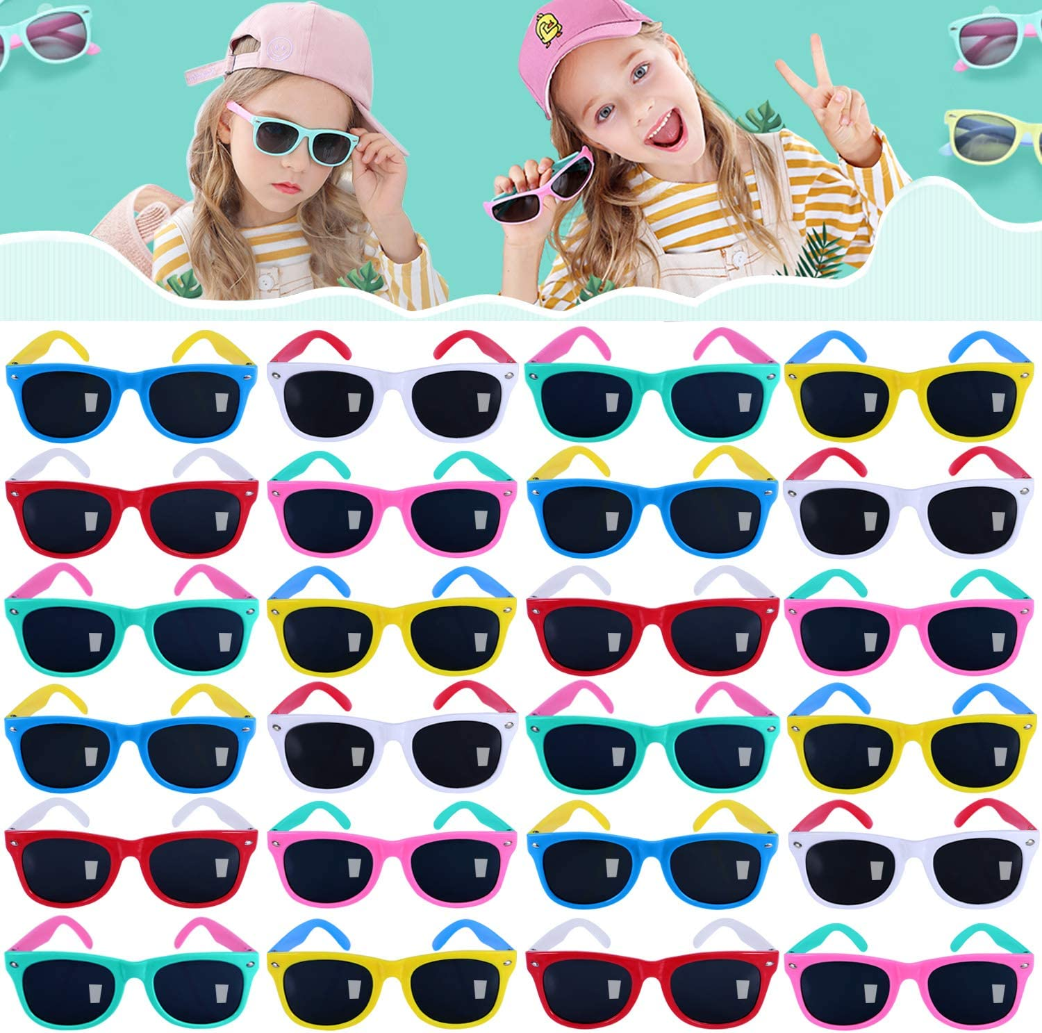 24pack Neon Sunglasses for Kids, Boys and Girls, Kids Sunglasses Party Favors in Bulk, Summer Beach, Pool Party Favors, Fun Gifts, Party Toys, Goody Bag Stuffers, Gift for Birthday Party Supplies