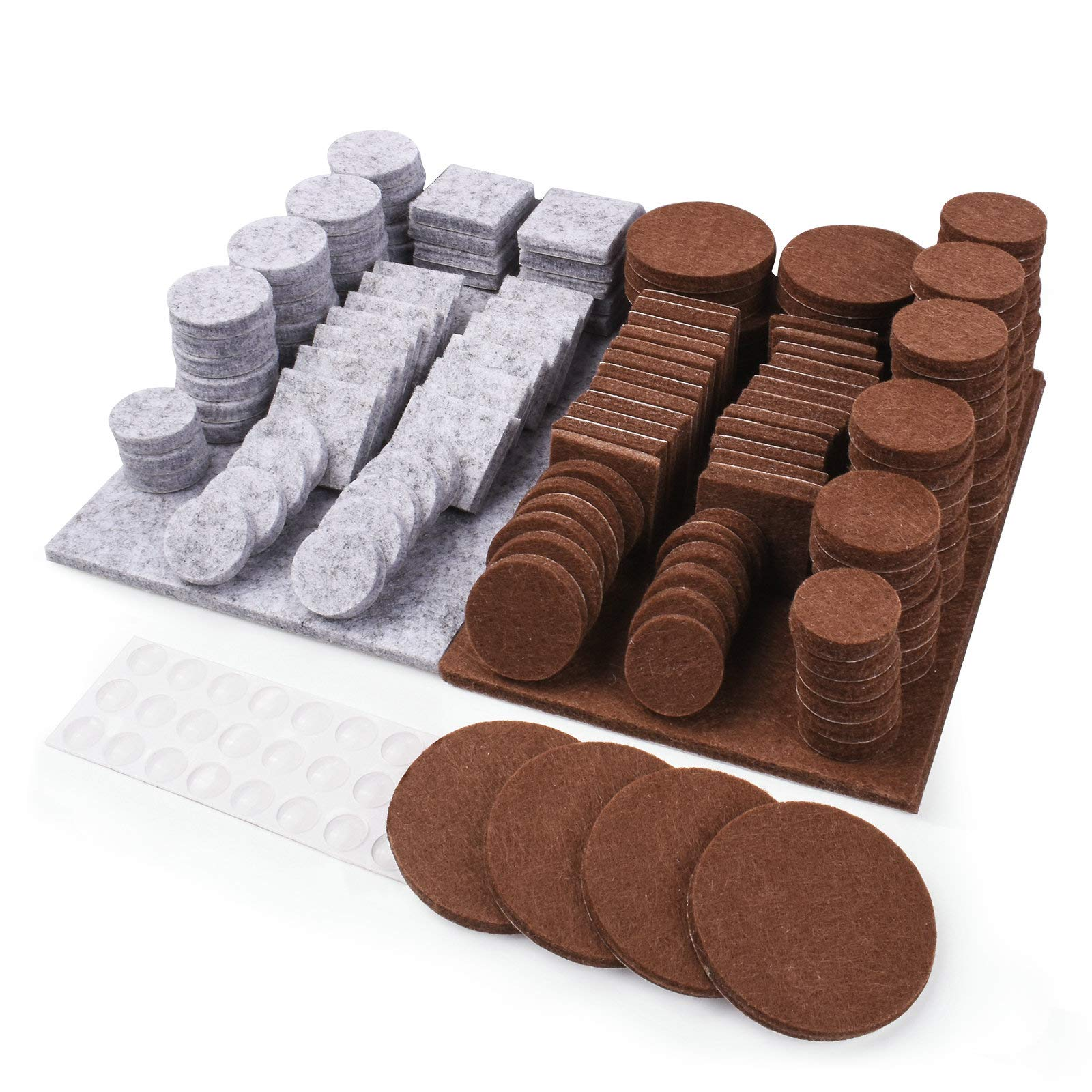Fairup Furniture Pads 192 Pieces Non Slip Felt Furniture Pads on Hardwood Floors 0.2 inch Thick with 30 Clear Rubber Bumpers Self-Adhesive Floor Protectors Brown and Gray Felt 1 inch 2 inches