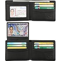 b130f768f609 Wallet for Men-Genuine Leather RFID Blocking Bifold Stylish Wallet With 2  ID Window
