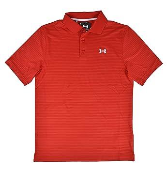 Under Armour UA pour homme Rouge rayé Heat Gear Coupe ample Polo de golf pour homme Petit d4MRYD2u