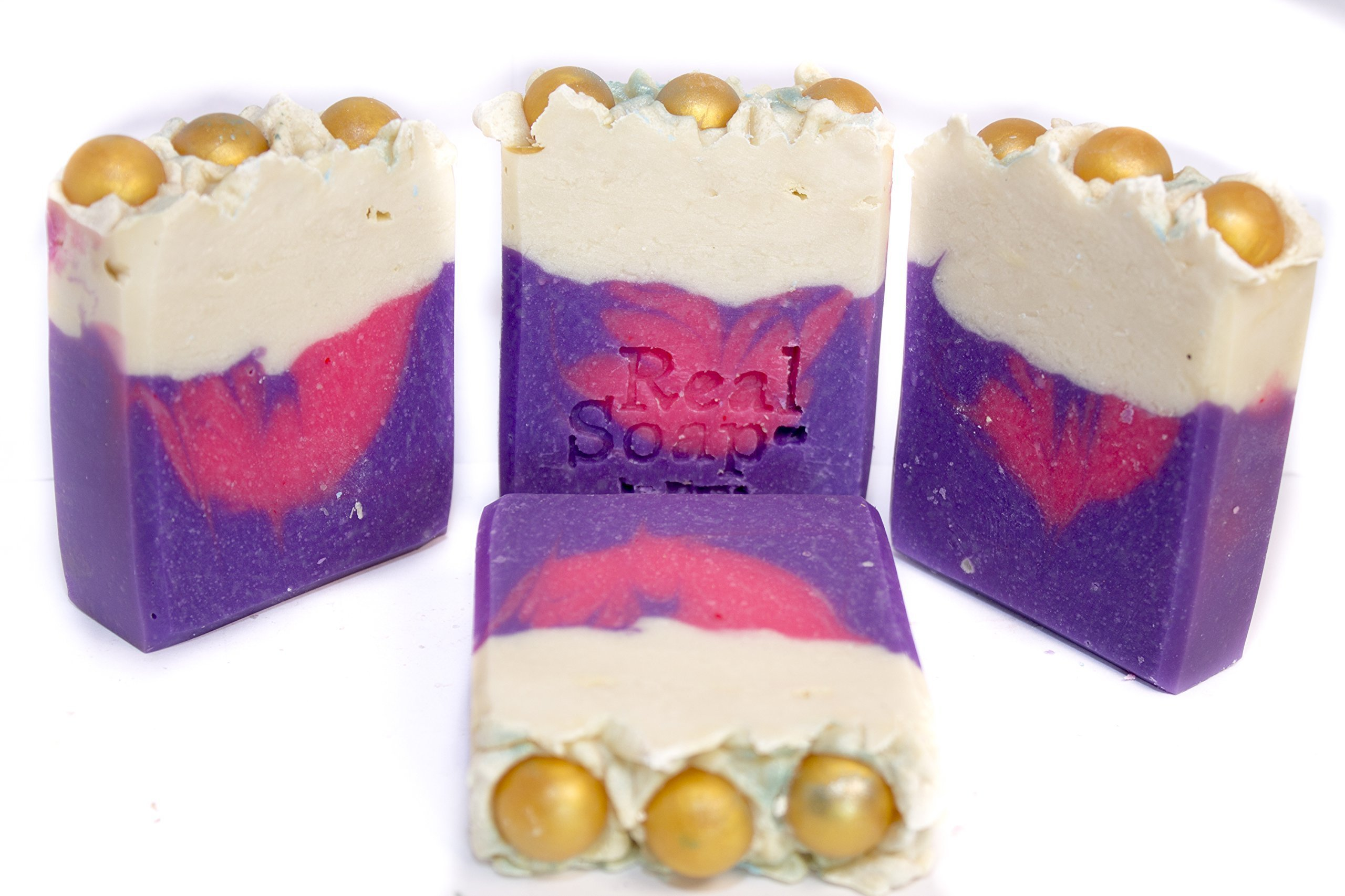 Handmade Soap Bars for Body (4pk) Cold Process, Shea Butter, Floral fragrance, Pink & Purple Swirl