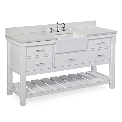 Charlotte 60 Inch Single Bathroom Vanity (Quartz/White): Includes A White