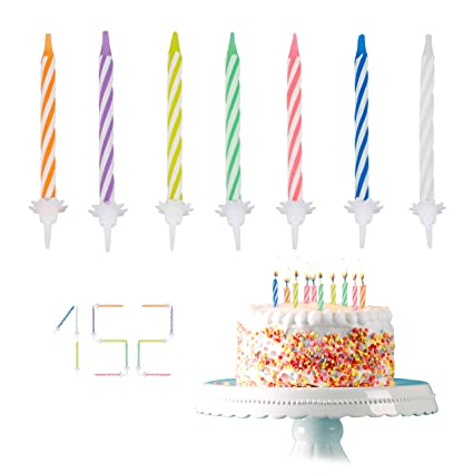 Amazon Relaxdays Set Of 102 Colourful Birthday Candles With 50 Holders For Cakes Party Decoration 6 Cm Kitchen Dining