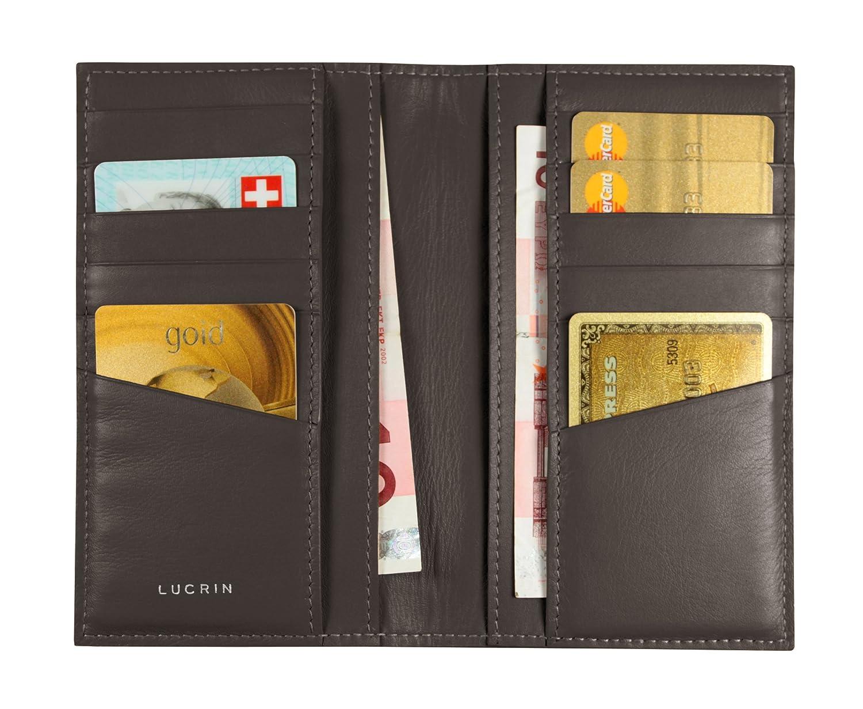 Lucrin PM1343_VCGR_MRR - Tarjetero de piel tarjetas para 12 tarjetas piel de crédito (piel de novilla, acabado liso), color marrón 753e93