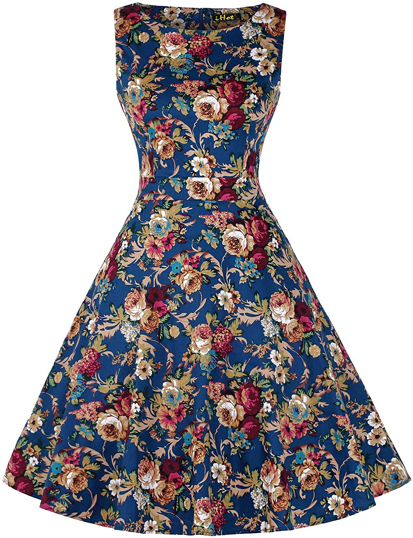Vintage Tea Dress 1950's Floral Spring Garden Retro Swing
