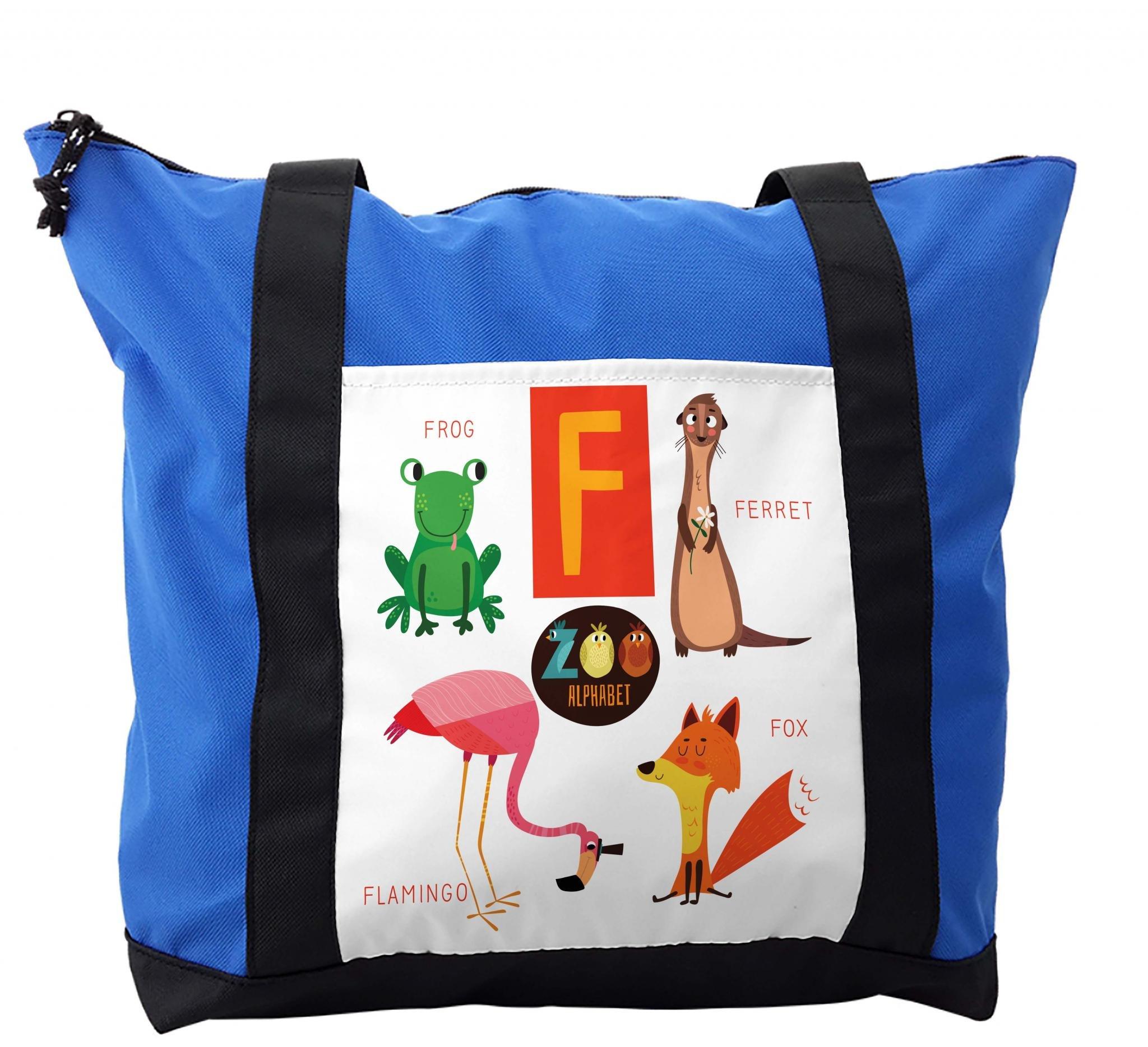 Lunarable ABC Kids Shoulder Bag, Flamingo Fox Frog Ferret, Durable with Zipper