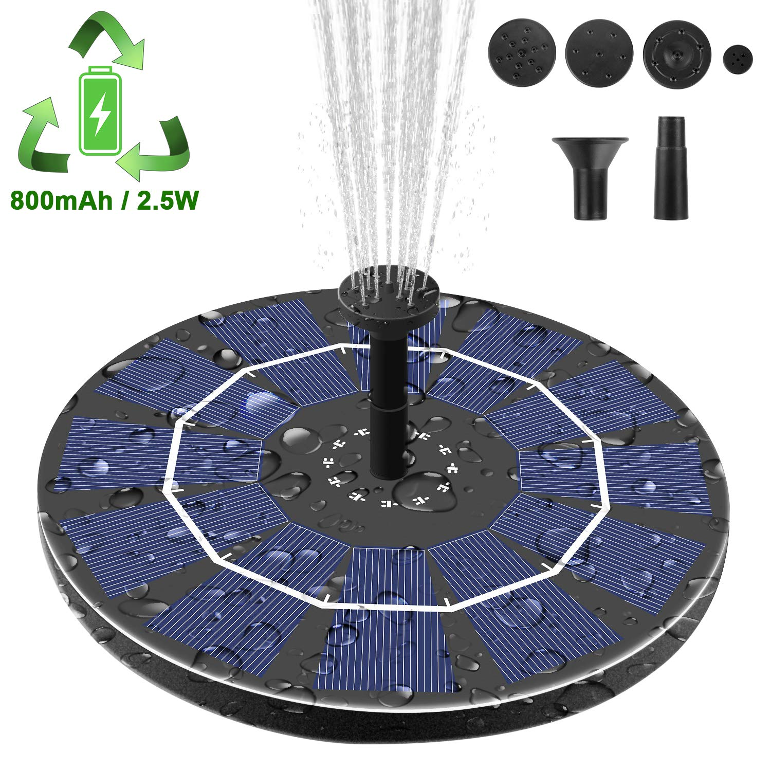 Viajero Latest Upgrade 2.5W Solar Fountain Pump for Bird Bath with 800mAh Battery Backup, Free-Standing Portable Floating Solar Powered Water Fountain Pump for Garden Backyard Pond Pool Outdoor by Viajero