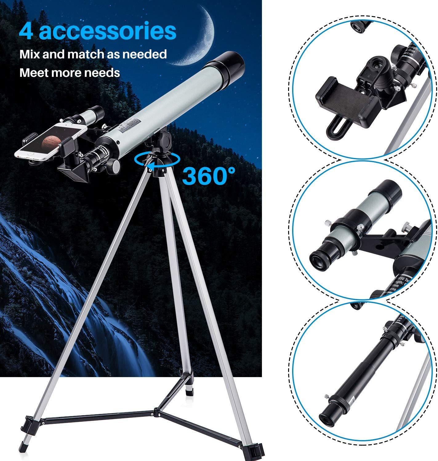 Telescopes for Astronomy Beginner Adults /& Kids Monocular Refractor Telescope 600mm*50mm with Tripod /& Smartphone Adapter