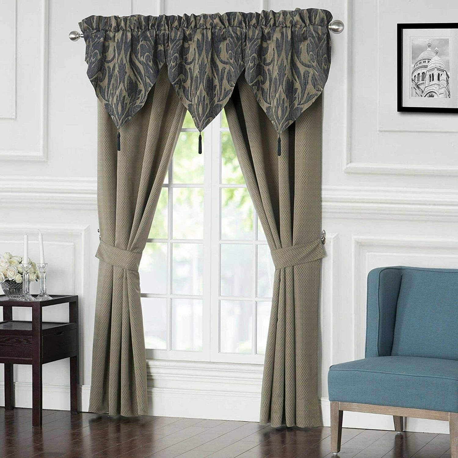 Waterford Linens Gabion Damask Jacquard Window Dressings Two Drapes and Two Tie Backs Indigo/Taupe