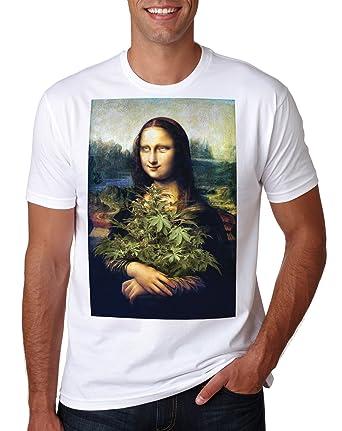 e88f92c14 LuckyTshirt Mona Lisa Weed T Shirt Dope Smoke Cannabis Ganja Marijuana  Funny Mens Gift: Amazon.co.uk: Clothing