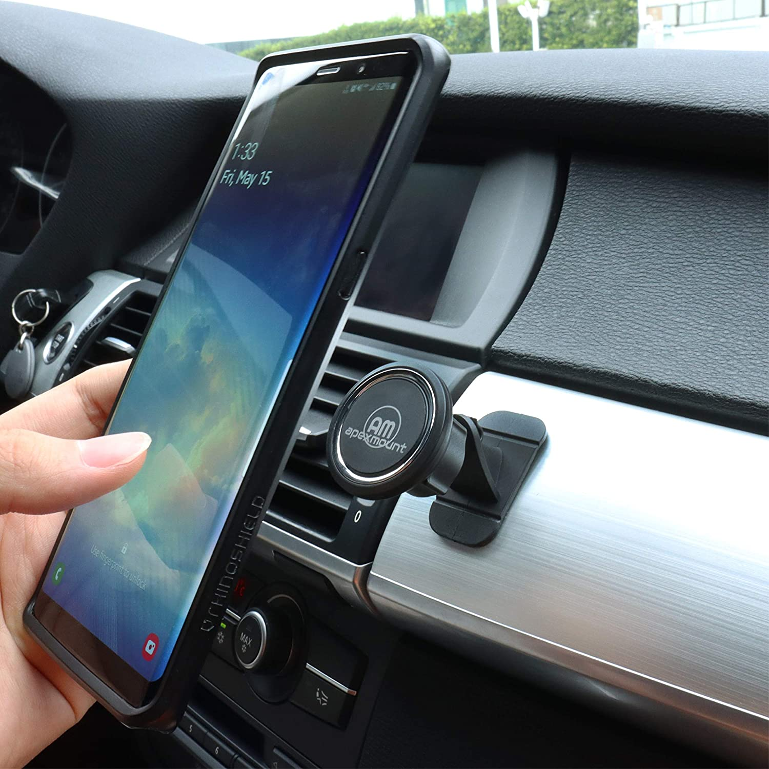 etc. Nokia Huawei Compatible with iPhones Sony Moto Xiaomi Magnetic Stick Stand Mount APEXMOUNT Car Phone Holder Samsung Galaxy//Note HTC LG Hands-Free and 360/° Rotation Design Chrome