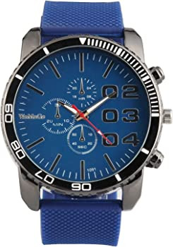 Mens Large Face Watch Faux Chronograph Dial Silicone Band Reloj Para Hombre Blue SW1091BL