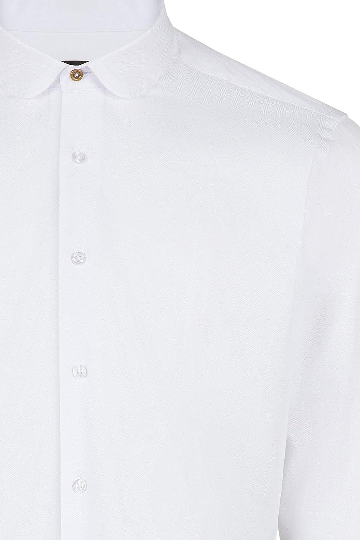Jack Martin Peaky Blinders Style White Herringbone Slim Fit Shirt