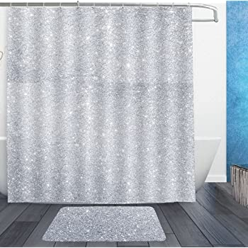 HOMESTORES Shower Curtains With Hooks And Bath Rug Mat