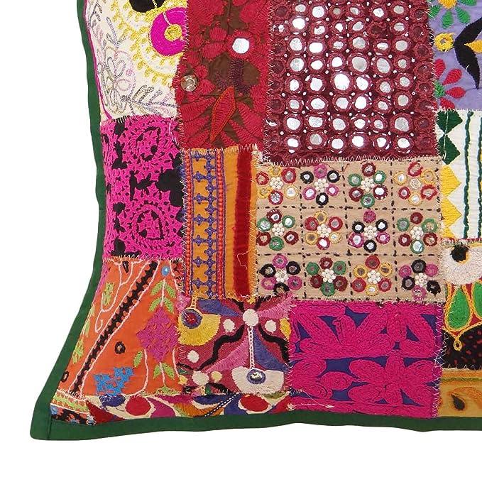 Amazon.com: ibaexports Indian Cushion Patchwork Multicolour ...