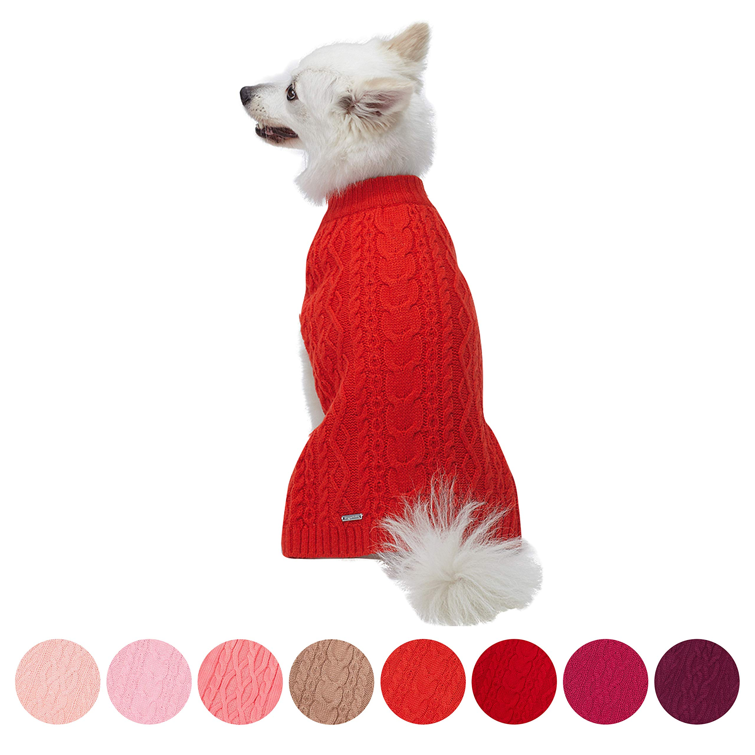 Blueberry Pet 16 Colors Classic Wool Blend Cable Knit Pullover Dog Sweater in Tomato, Back Length 16'', Pack of 1 Clothes for Dogs by Blueberry Pet (Image #1)