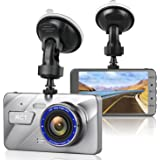 Dash Cam RCT Full HD 2K 1296P 4.0 Inch Screen Car DVR 170 Degree Wide Lens Angle Dash Camera Recorder Support ADAS, Night Vision, WDR, Loop Recording (Silver)