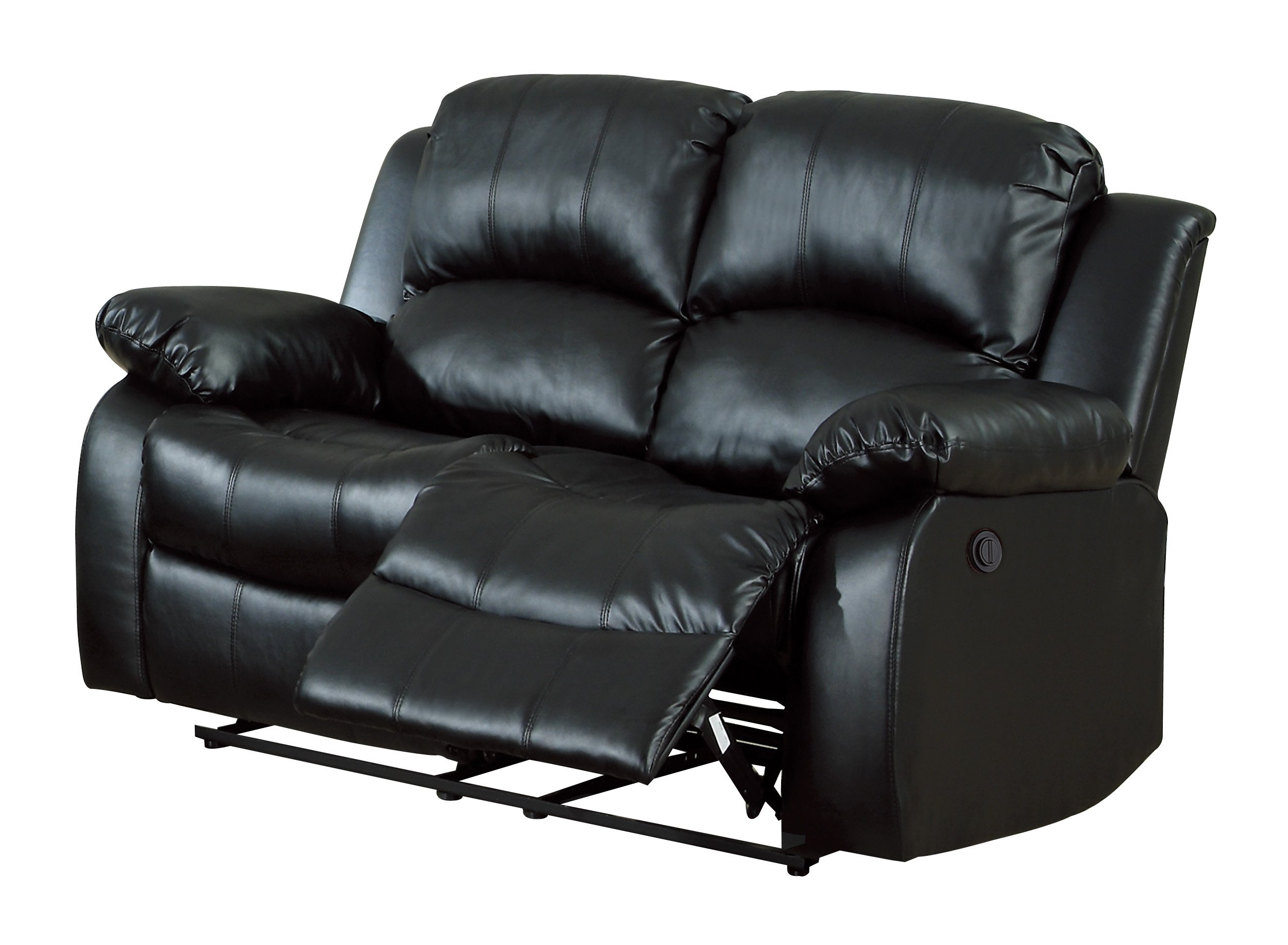 Homelegance 9700BLK-2PW Plushy Rolled Tufted Power Reclining Motion Bonded Leather  Love Seat, Black