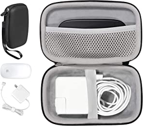 MacBook Magic Mouse and MagSafe Power Adapter All in one Handy Case by CaseSack, for MagSafe 2, MagSafe, Magic Mouse 2, Magic Mouse 1, Lightning Cord, USB Hub, Type C Hub, Docking Station (Black)