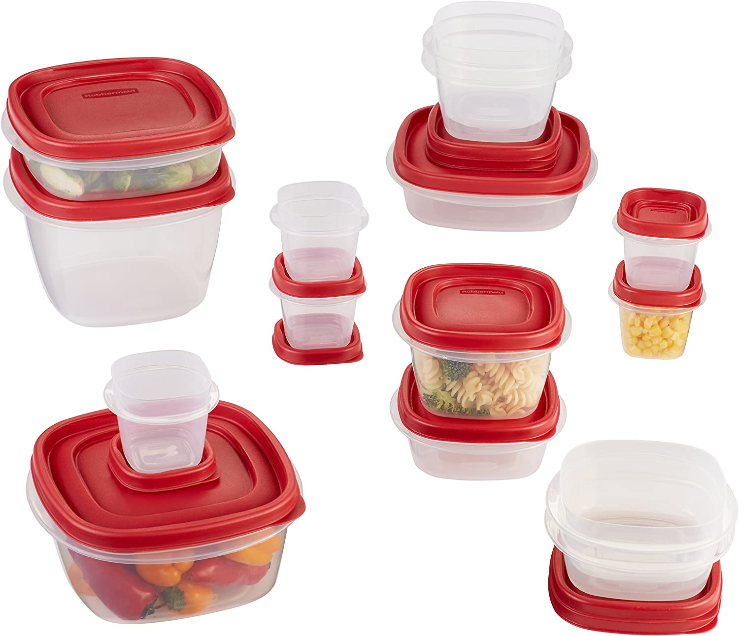 Rubbermaid Easy Find Lids Food Storage Containers, Racer Red, 30-Piece Set 1887941