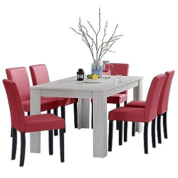 [en.casa]®] Set de Comedor Mesa Oslo (Blanca - 160x90) 6 sillas (tapizadas - Granate) - Set Ahorro