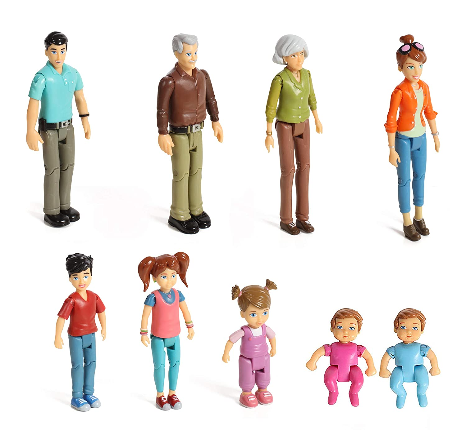 Dad Twin Boy /& Girl- Super Durable /& Updated 2019 Edition Grandma Toddler Sister Mom Brother Beverly Hills Doll Collection TM Sweet Lil Family Set 9 Action Figures- Grandpa