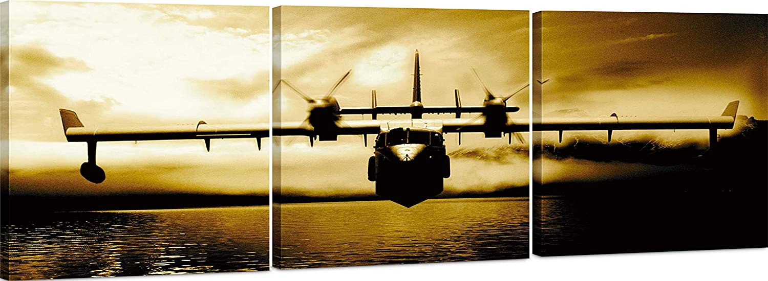 Canvas Wall Art Decor - 24x24 3 Piece Set (Total 24x72 inch)- Vintage Propeller Airplane - Large Decorative & Modern Multi Panel Split Canvas Prints for Dining & Living Room, Kitchen, Bedroom & Office