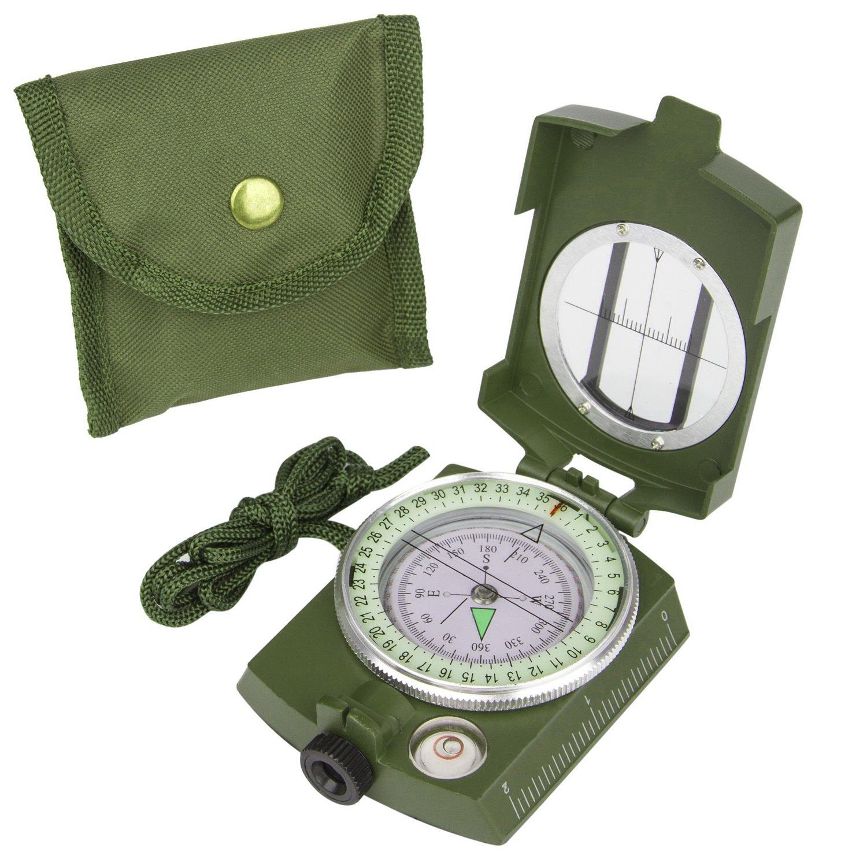 Military Linsenkompass Prismatischer Visieren Kompass mit Tragetasche Wasserdicht und Shakeproof, Camping fluoreszierende Zeiger Kompass, Armee Grün