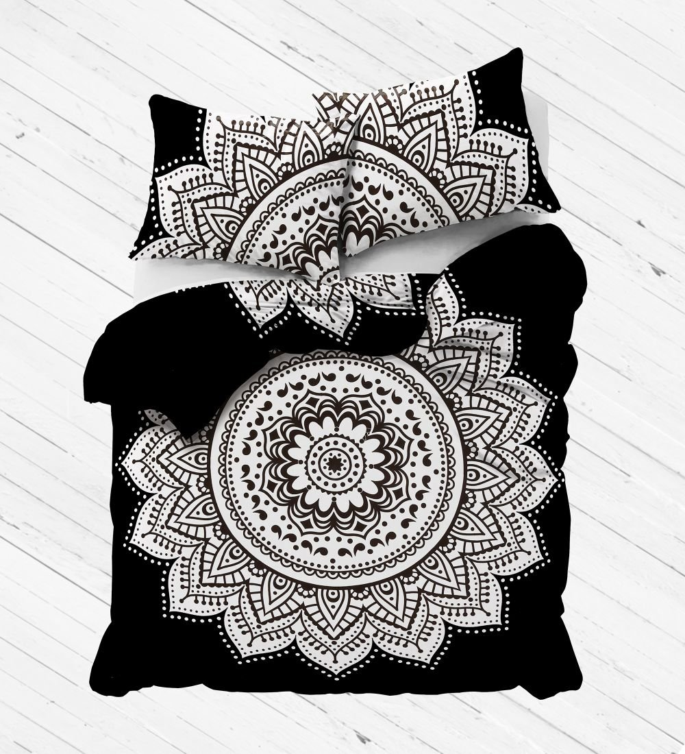Exclusive Black and White mandala duvet cover with pillowcases By Labhanshi, mandala bedding, mandala duvets, mandala bedroom decor, boho comforter cover