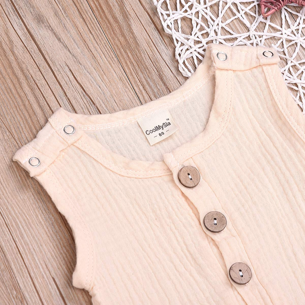 Mini honey Infant Toddler Baby Girls Boys Navy//Brown Button up Sleeveless Romper Jumpsuit Shorts Summer Outfit Clothes