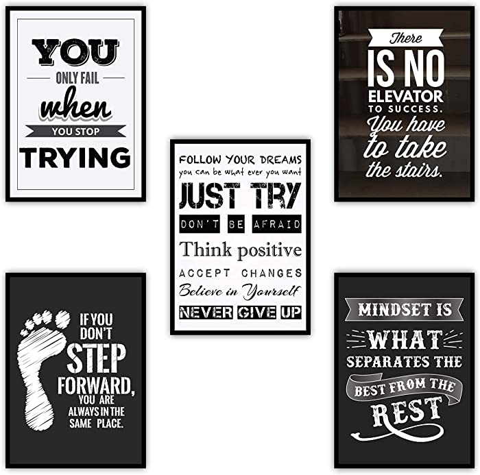 "Large Motivational Posters Set for Classroom Teachers Students Home Office | Set of 5 | 11.7""x16.5"" 