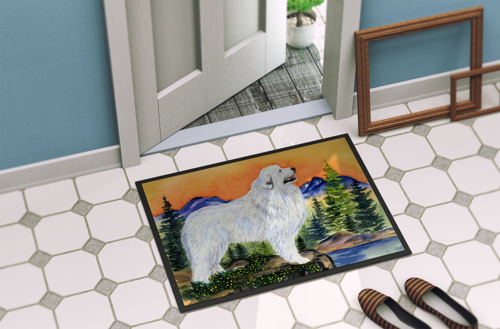 Caroline's Treasures SS8183MAT Great Pyrenees Indoor Outdoor Mat 18x27 Doormat, 18H X 27W, Multicolor 2
