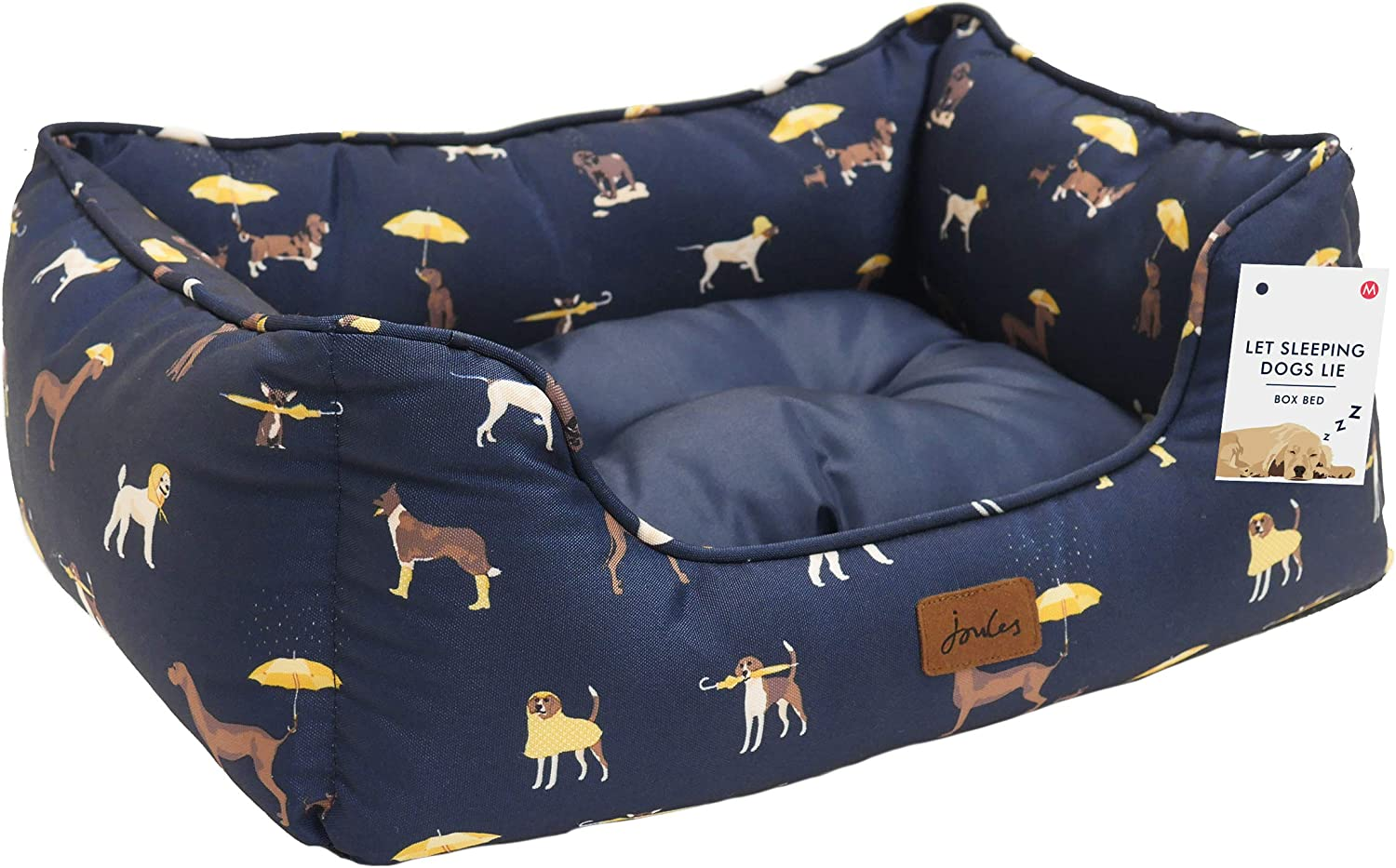Rosewood Joules Super Soft Canvas Water Resistant Medium Dog Bed Machine Washable For Medium Dogs Navy Blue Raining Dog Print 69 Cm 27 Inch Amazon Co Uk Pet Supplies